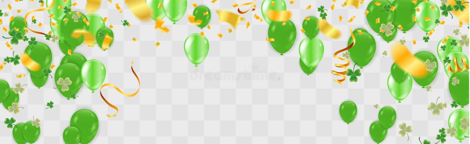 Party balloons illustration Clover leaves decorated transparent background of St Patrick`s Day. Poster or banner design royalty free illustration