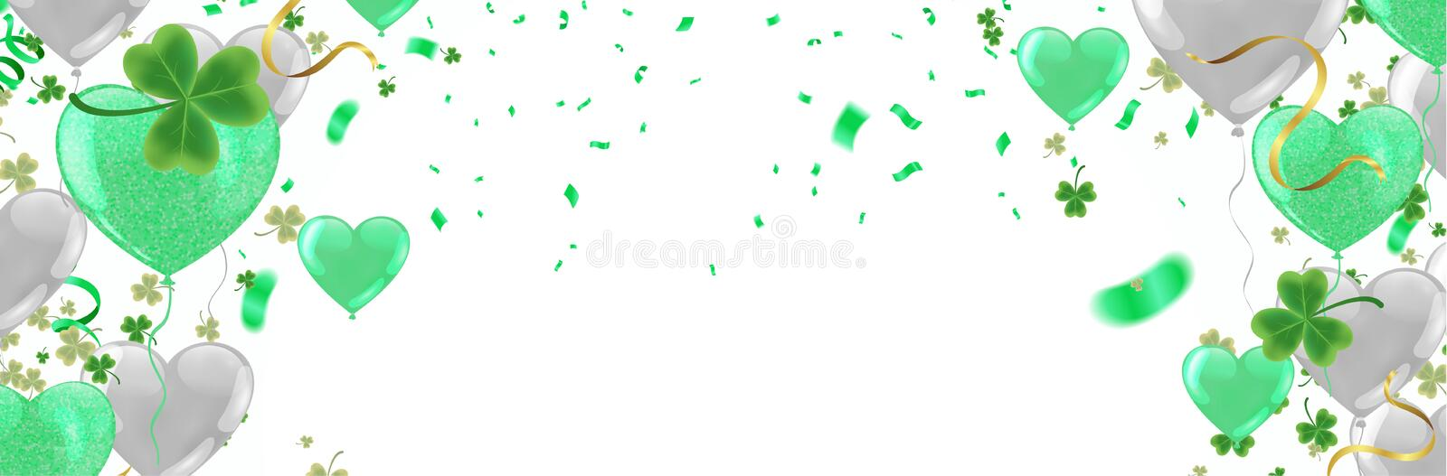 Party balloons illustration Clover leaves decorated transparent background of St Patrick`s Day. Poster or banner design stock illustration