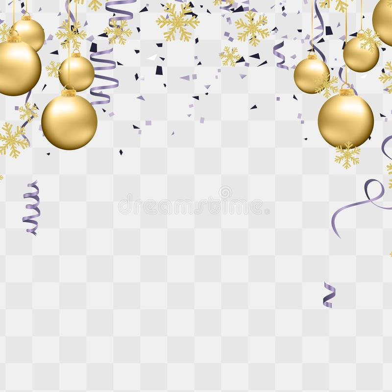 Party balloons illustration. Confetti and ribbons flag ribbons, Merry Christmas Party xmas Poster and Happy New Year stock illustration