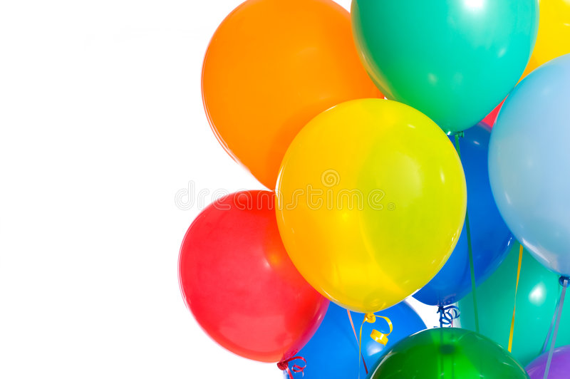 Party Balloons on white royalty free stock photography