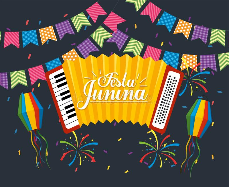 Party banner with accordion to festa junina. Vector illustration royalty free illustration