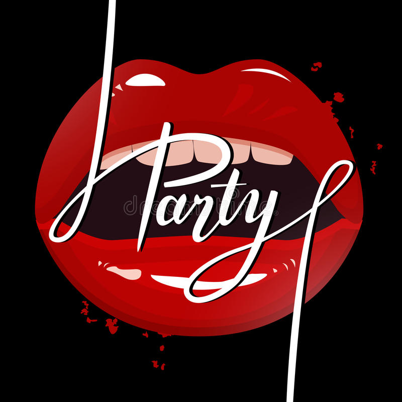 Party banner template, red seductive lips and party brush pen lettering. Vector illustration vector illustration