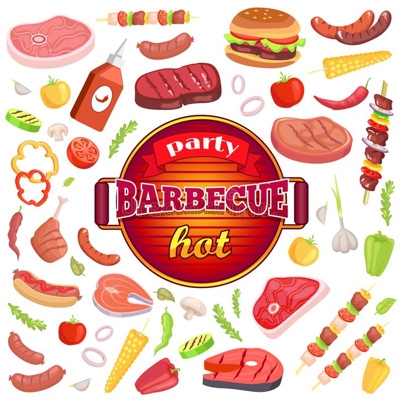 Party Barbecue Hot Icons Set Vector Illustration. Party barbecue hot isolated icons set vector. Frying pan and text on ribbon. Sauce and meat types, hamburger royalty free illustration