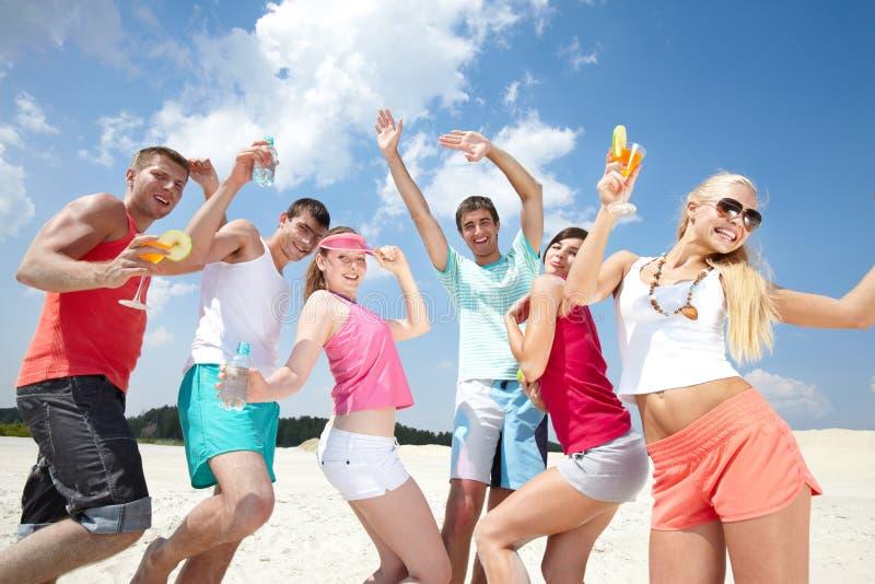 Party on beach stock photos