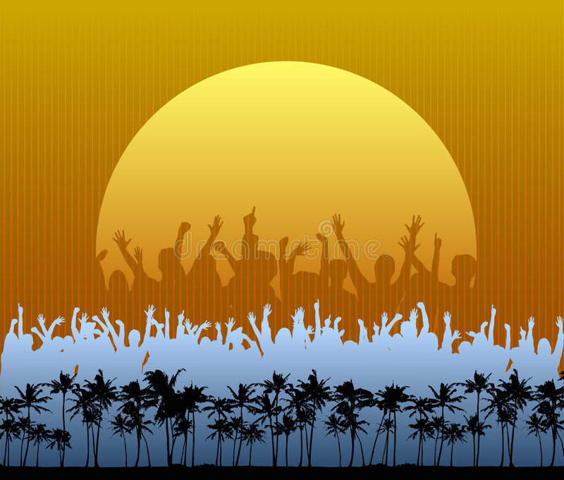 Party on the Beach. A crowd in silhouette dances and cheers in front a large setting sun on the beach