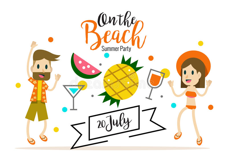 Party on the beach. heading design for banner or poster. vector illustration