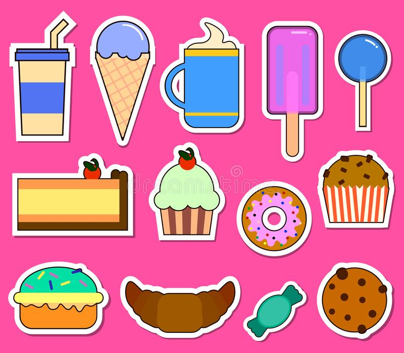 Party big set with different sweets - cake, ice cream, donuts, cupcakes, chocolate bar, candies. Flat design Vector royalty free illustration