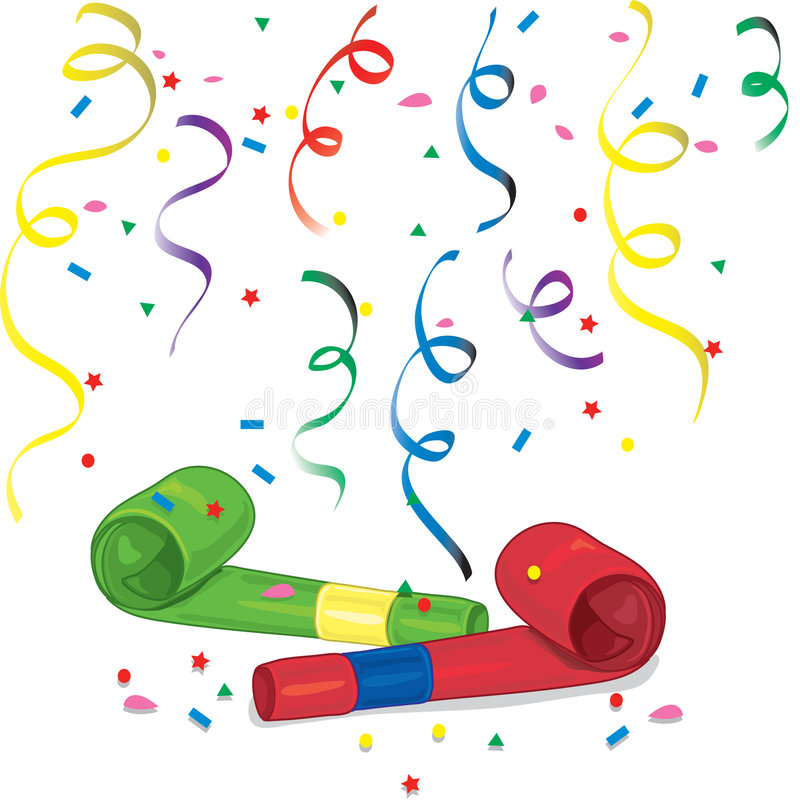 Party Blower: Party Blowers And Confetti Stock Vector. Illustration Of