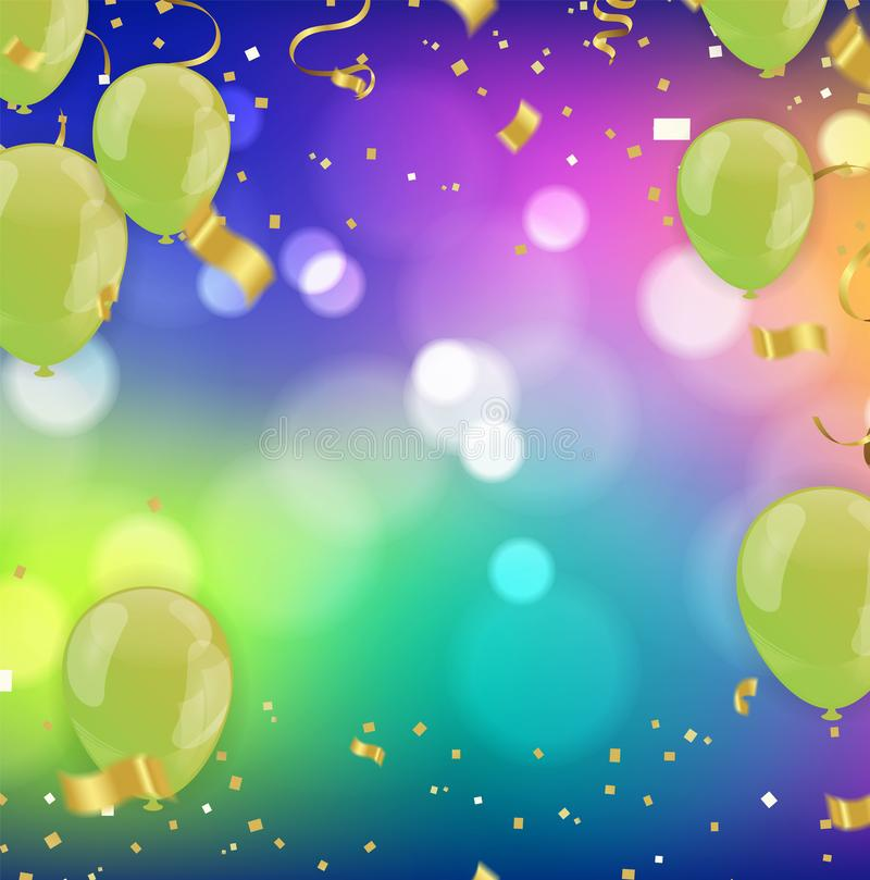 Party Border of realistic colorful helium balloons, ww celebration background stock illustration