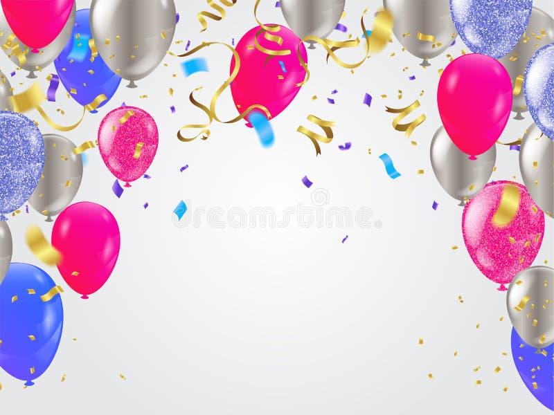 Party Border of realistic colorful helium balloons, ww celebration background royalty free illustration