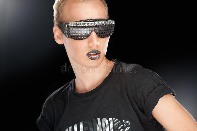 Party boy in club glasses stock photography