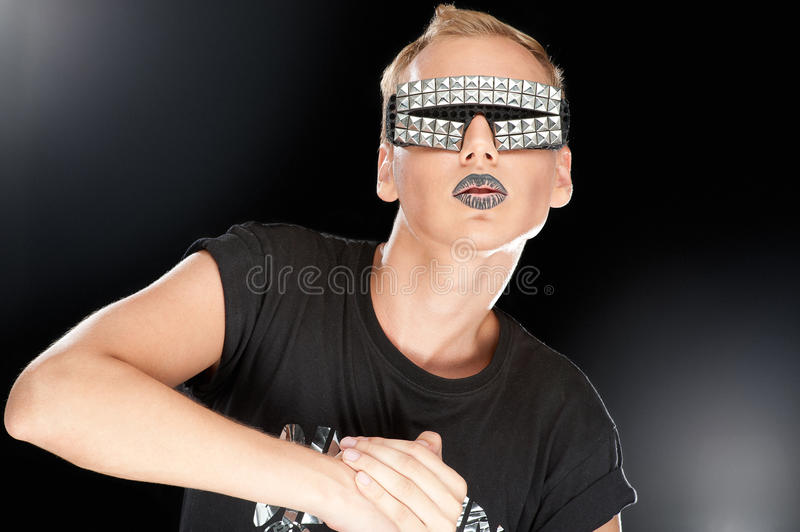 Party boy in club glasses stock photos