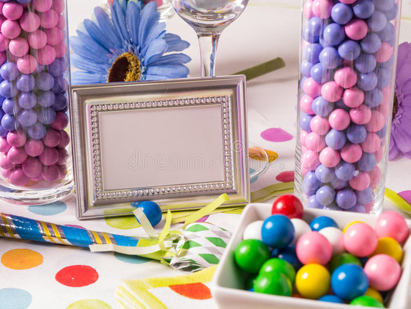 Party Candy Buffet Table. A birthday buffet table full of colorful sweet and tasty candy with blank sign for custom copy stock images