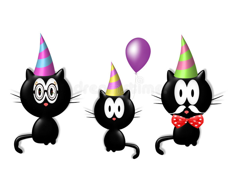Download Party cat family stock illustration. Image of funny, feline - 7001121