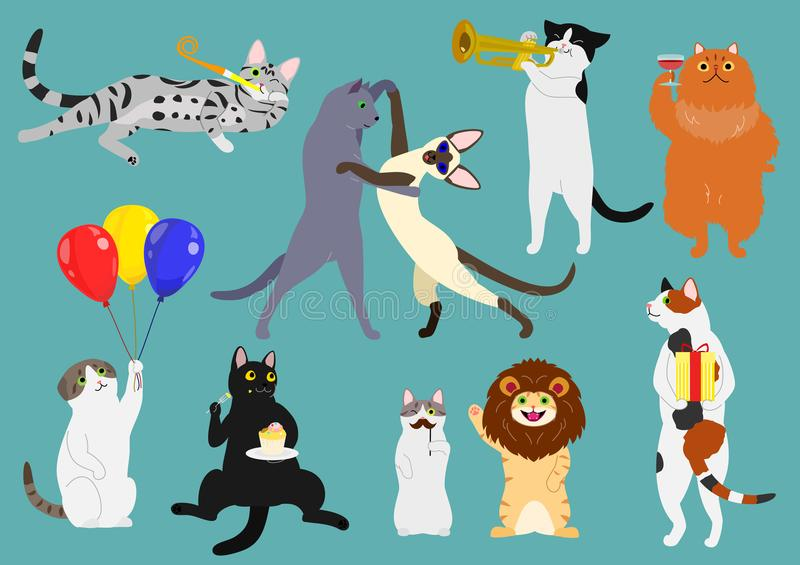 Party cats set stock illustration