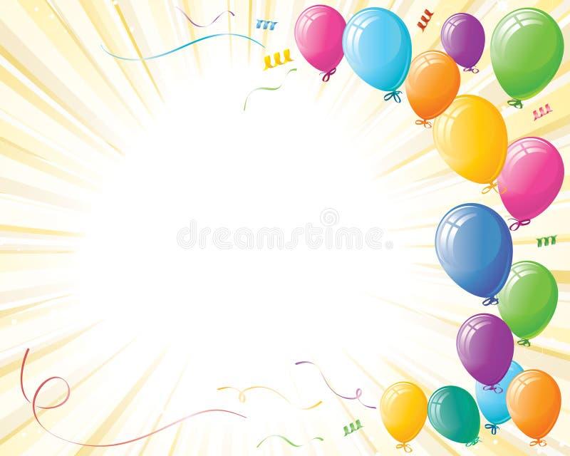 Party Celebration Balloons on Yellow Burst
