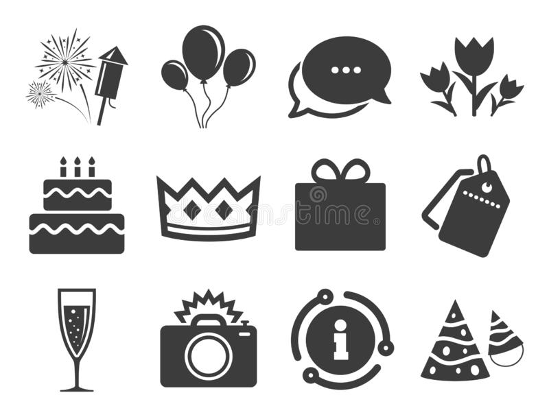 Party celebration, birthday icons. Fireworks. Vector vector illustration