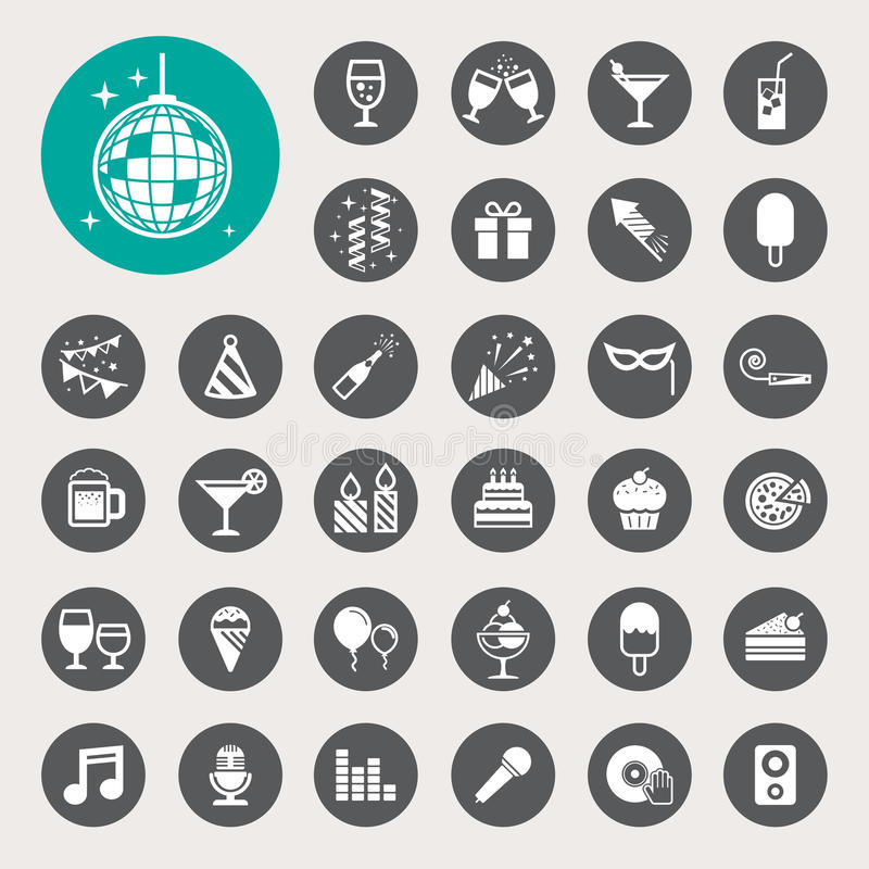 Party and Celebration icon set. vector illustration