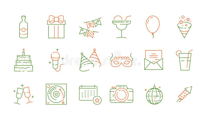 Party celebration icons. Fun events birthday games symbols fireworks food balloons entertainment vector pictures set vector illustration