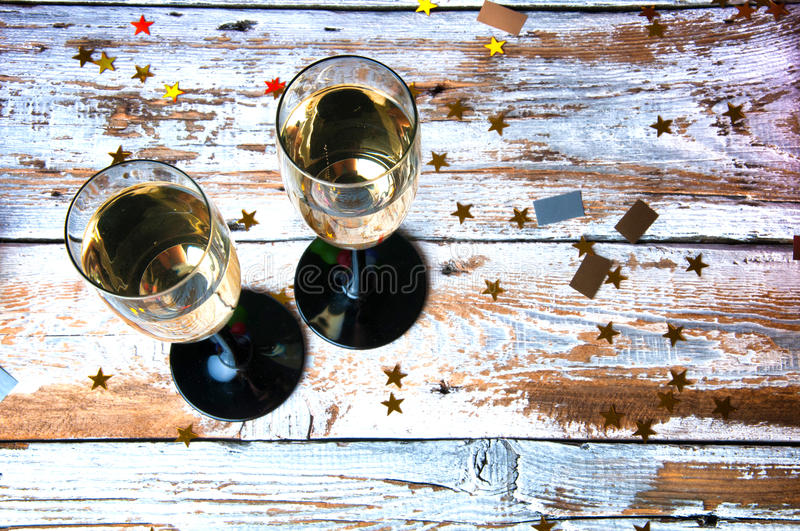 Party with champagne. New Year's Eve or birthday. Top view. stock images