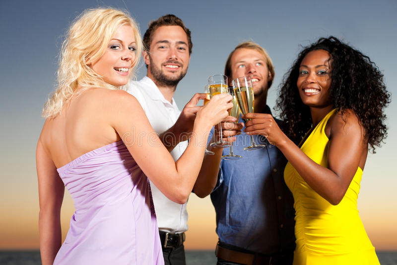 Download Party With Champagne Reception At The Beach Stock Image - Image of group, beach: 16421499