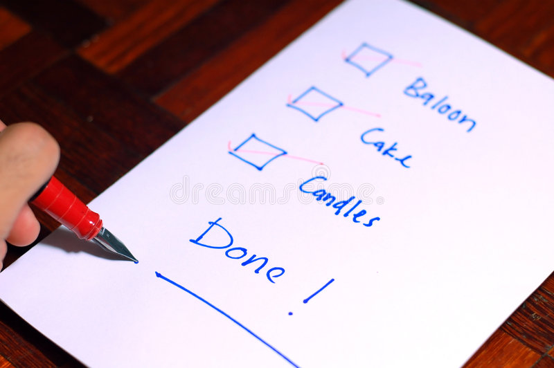 Party-Checkliste stockbild
