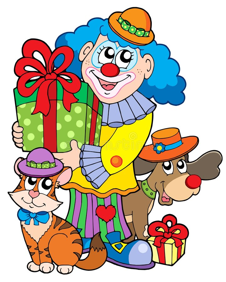 Party clown with cute animals. Vector illustration
