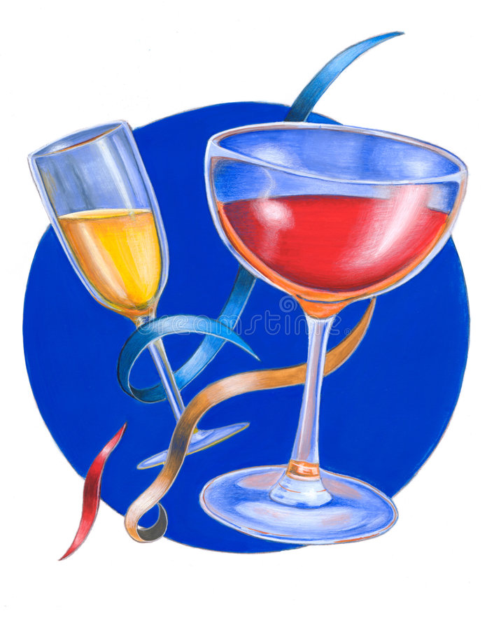 Party cocktails. Hand painted illustration stock photo