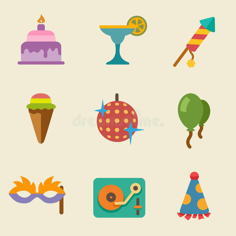 Download Party color icon set stock vector. Image of carnival - 31378496