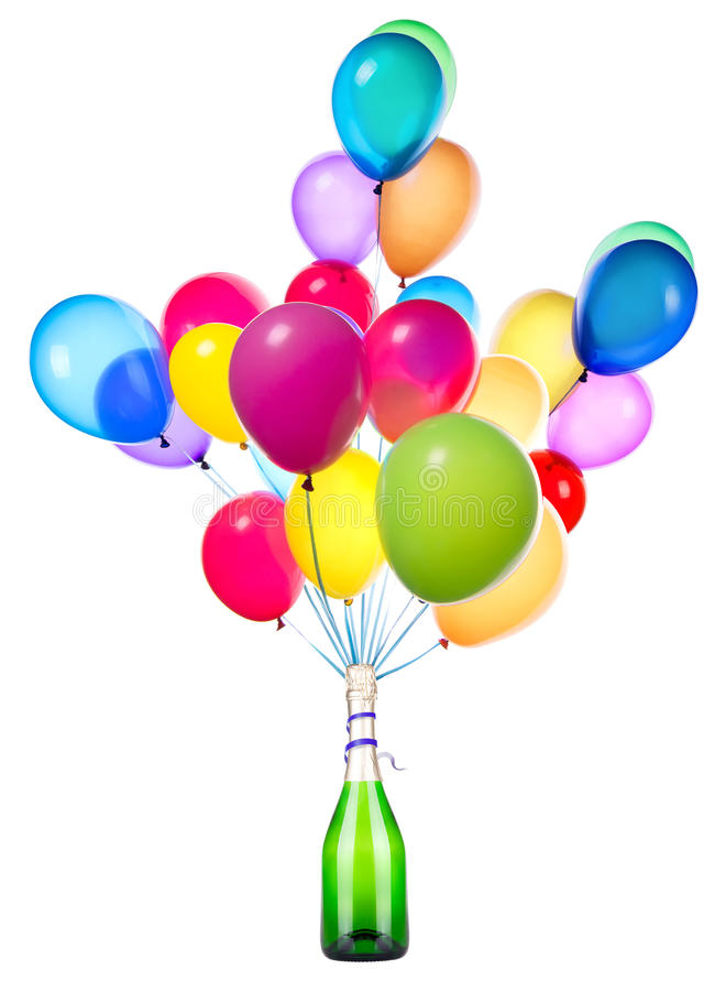 Party concept. With champagne and flying balloons royalty free stock images