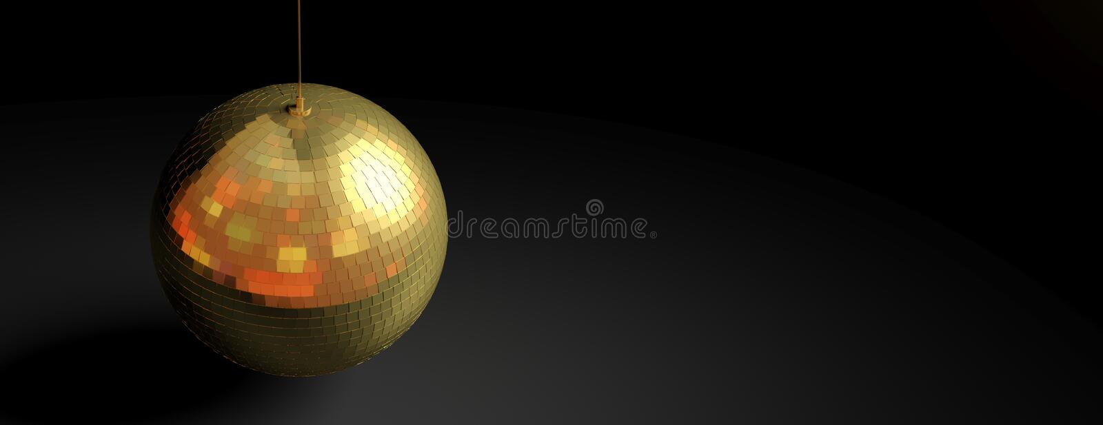 Gold mirror disco ball isolated in a black background, banner, copy space. 3d illustration stock illustration