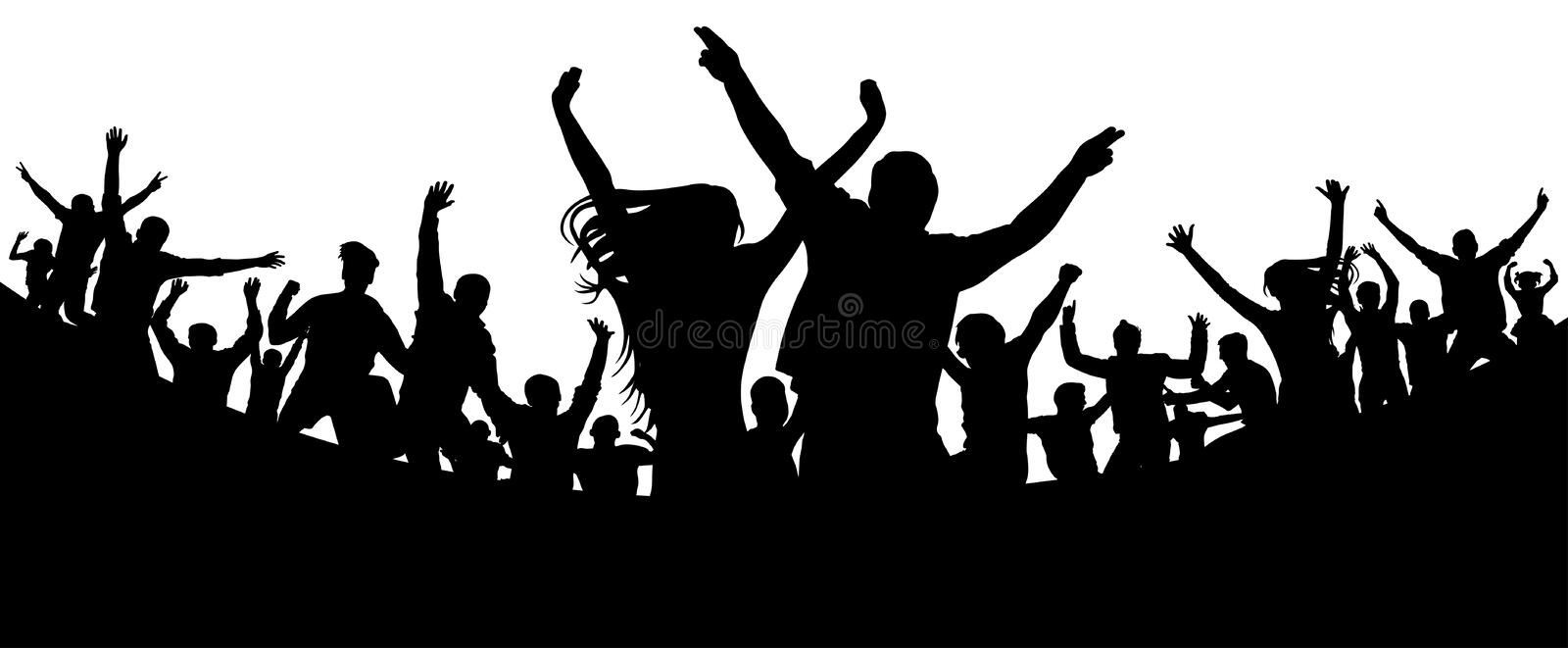 Party, concert, dance, fun. Crowd of people silhouette vector. Cheerful youth royalty free illustration