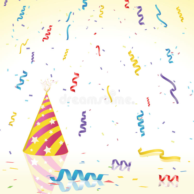 Download Party Confetti And Hat On Reflective Surface Stock Vector - Illustration of years, paper: 14403748