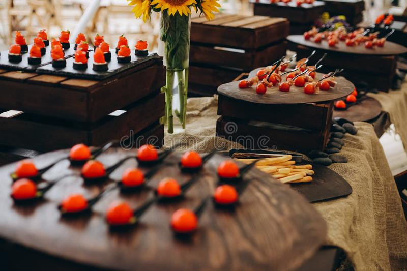 party corporate food buffet appetizers fish canapes royalty free stock images