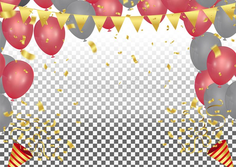 Party cracker with confetti and streamer on baloons in the shape vector illustration