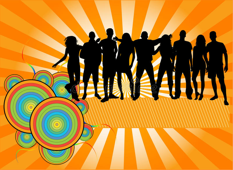 Party Crowd , people silhouettes stock illustration