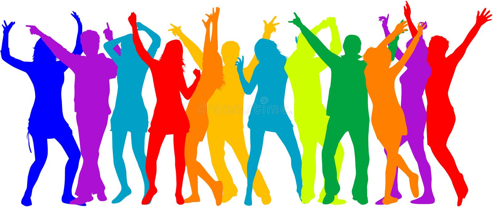 Party Crowd , people silhouettes - color vector illustration
