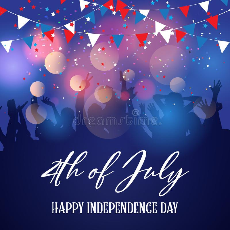 Party crowd on a 4th July Independence Day background vector illustration