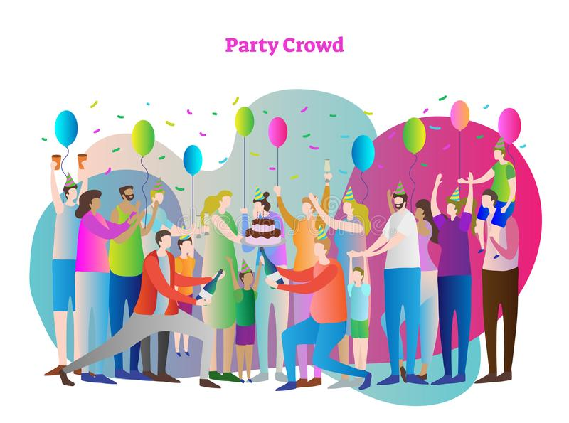 Party crowd vector illustration. Friends and family together. People with positive emotions, balloons and confetti. stock illustration