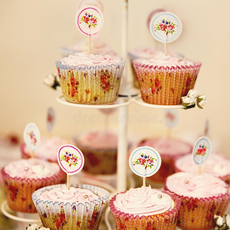 Party Cupcakes For Elegant Afternoon Tea royalty free stock photography
