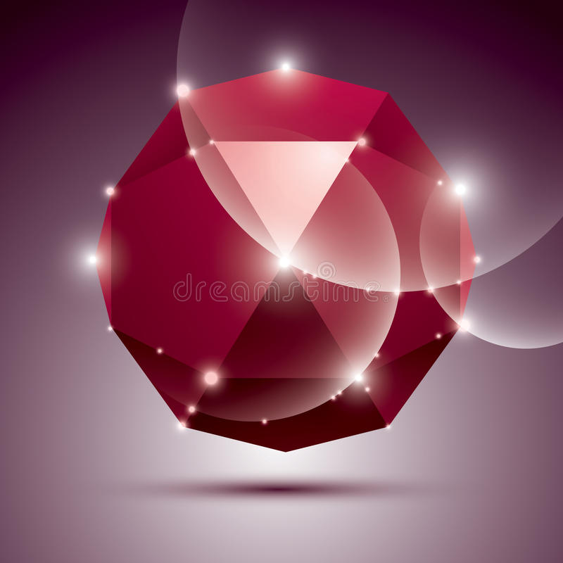 Party 3D red shiny disco ball. Vector fractal dazzling abstract. Illustration - eps10 jewel. Gala theme vector illustration