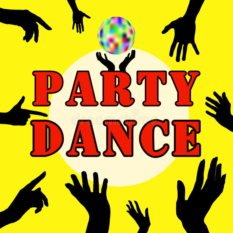 Party dance . Hands silhouette. Upper limb man. Index finger. Business cards, flyers, invitations. Party dance . Hands silhouette. Upper limb man. Index finger stock illustration