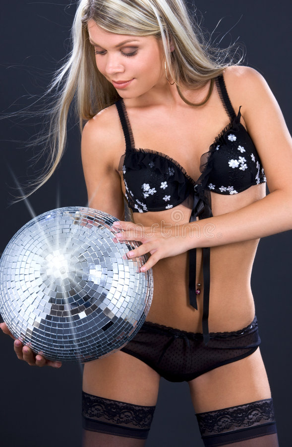 Download Party Dancer In Black Lingerie With Disco Ball Stock Image - Image: 6074133