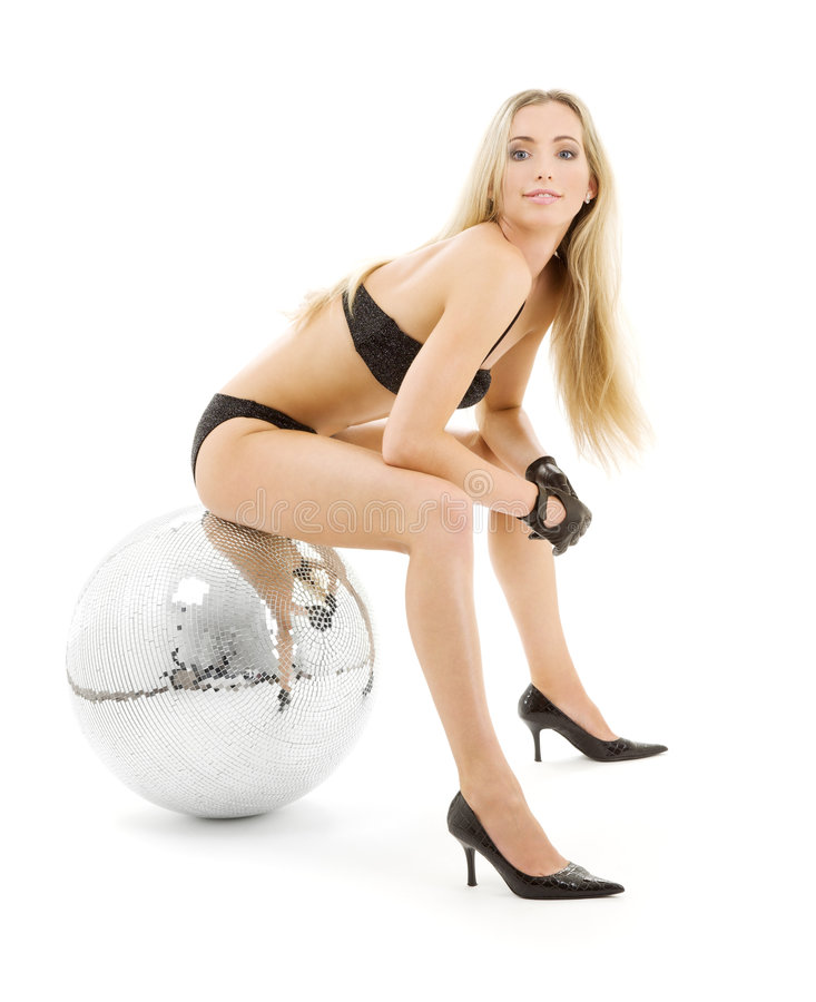 Party dancer with disco ball royalty free stock photography