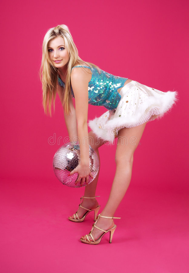 Party dancer with disco ball royalty free stock photo