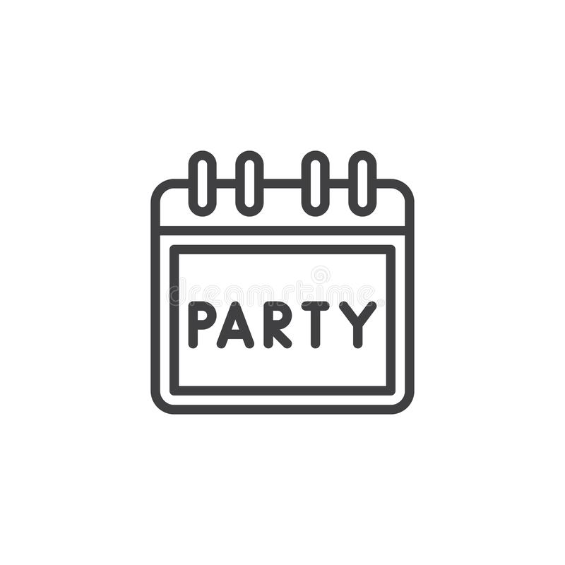 Party day calendar outline icon vector illustration