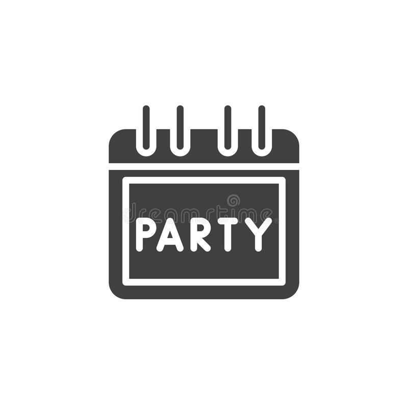 Party day calendar vector icon stock illustration