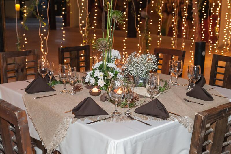 Party decoration; Reception room, tables decorated for the celebration of events stock photography
