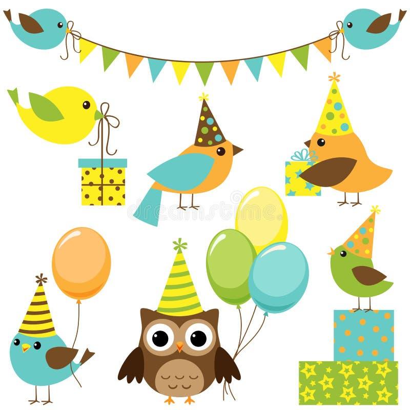 Party die eingestellten Vögel stock abbildung