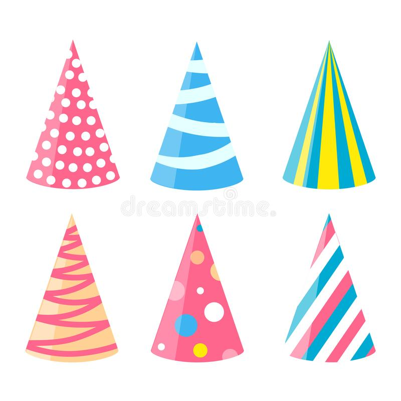 Party different hats collection for a birthday celebration, new year and other holidays royalty free illustration